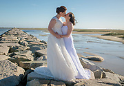 Meghan and Dani during their portrait session on their wedding day at the Provincetown Inn on Friday, October 5, 2018.