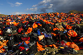 Mountains of life jackets on the Greek island of Lesbos.