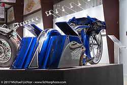 Dustin Maybin's custom all metal bagger in the Old Iron - Young Blood exhibition in the Motorcycles as Art gallery at the Buffalo Chip during the annual Sturgis Black Hills Motorcycle Rally. Sturgis, SD, USA. Wednesday August 9, 2017. Photography ©2017 Michael Lichter.