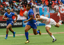 March 10, 2018 - Vancouver, British Columbia, U.S. - VANCOUVER, BC - MARCH 10: Dan Norton (#4) of England misses the tackle on Samoa player during Game # 13- England vs Samoa Pool B match at the Canada Sevens held March 10-11, 2018 in BC Place Stadium in Vancouver, BC. (Photo by Allan Hamilton/Icon Sportswire) (Credit Image: © Allan Hamilton/Icon SMI via ZUMA Press)