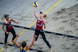Emily Day USA in action during the last day of the beach volleyball event King of the Court at Jaarbeursplein on September 12, 2020 in Utrecht.