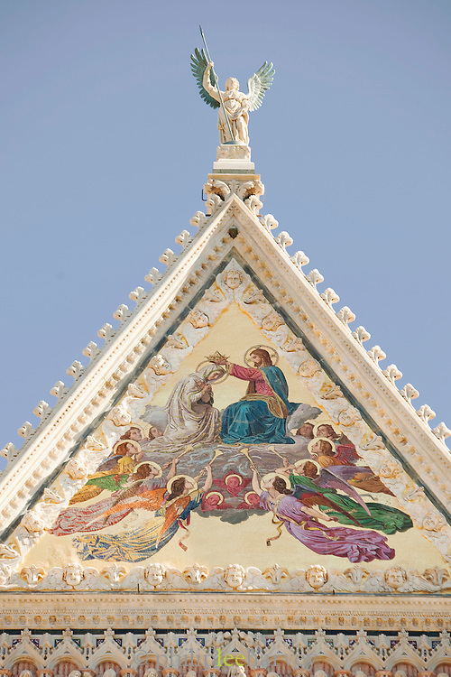 A fresco on the facade of the Duomo di Siena, the Cathedral of Siena in the city Siena, Tuscany, Italy