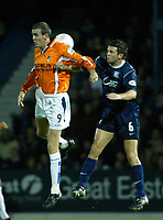 Photo. Chris Ratcliffe<br />Southend v Bristol Rovers. LDV Vans Southern Section. 14/10/2003<br />Paul Tait and David McSweeney of Southend go up for yet another aerial ball