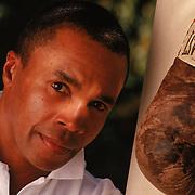 Boxing great Sugar Ray Leonard at his Los Angeles home.