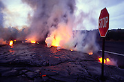 Lava over road, Kilauea Volcano, HVNP, Island of Hawaii<br />