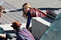 EXCLUSIVE: Melissa Benoist and Chyler Leigh film Supergirl action scenes in Vancouver, Canada. 05 Sep 2018 Pictured: Melissa Benoist. Photo credit: Atlantic Images/MEGA TheMegaAgency.com +1 888 505 6342