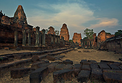 Last moment before sundown at Pre Rup temple, Angkor Wat, showing column structure and original walls