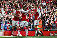 Alexandre Lacazette of Arsenal (c) celebrates with Aaron Ramsey after he scores his teams second goal of the game.  Premier league match, Arsenal v AFC Bournemouth at the Emirates Stadium in London on Saturday 9th September 2017. pic by Kieran Clarke, Andrew Orchard sports photography.