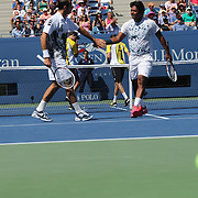Leander Paes, India, and Radek Stepanek, Czech Republic, in action against twin brothers Bob Bryan and Mike Bryan, USA, during the Men's Doubles Semifinals match at the US Open. Flushing. New York, USA. 5th September 2013. Photo Tim Clayton