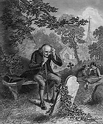 Man sits at his wife's grave. His children are in the background. Artwork from Godey's Lady's Book and Magazine, 1880, Published in Philadelphia, USA by Louis A. Godey, Sarah Josepha Hale,