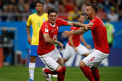 June 17, 2018 - Rostov Do Don, Rússia - ROSTOV DO DON, RO - 17.06.2018: BRAZIL VS SWITZERLAND - Switzerland's St Zub Zuber celebrates after scoring a goal during a Brazil-Switzerland match valid for the firstnd of group oup E of the 2018 World Cup, held at the Rostov Arena in Rostov on Don, Russia. (Credit Image: © Marcelo Machado De Melo/Fotoarena via ZUMA Press)