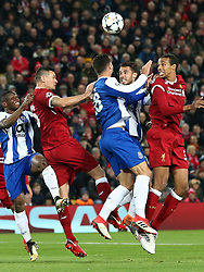 March 6, 2018 - Liverpool, U.S. - 6th March 2018, Anfield, Liverpool, England; UEFA Champions League football, round of 16, 2nd leg, Liverpool versus FC Porto; Joel Matip of Liverpool heads at goal challenged by Felipe of Porto but sees his effort go over the crossbar (Photo by Dave Blunsden/Actionplus/Icon Sportswire) ****NO AGENTS---NORTH AND SOUTH AMERICA SALES ONLY****NO AGENTS---NORTH AND SOUTH AMERICA SALES ONLY* (Credit Image: © Dave Blunsden/Icon SMI via ZUMA Press)