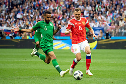 June 14, 2018 - Moscow, Russia - 180614 Denis Cheryshev of Russia and Mohammed Alburayk of Saudiarabia during the FIFA World Cup group stage match between Russia and Saudi Arabia on June 14, 2018 in Moscow..Photo: Petter Arvidson / BILDBYRÃ…N / kod PA / 92065 (Credit Image: © Petter Arvidson/Bildbyran via ZUMA Press)