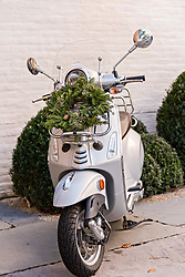 December 21, 2017 - Charleston, South Carolina, United States of America - A Christmas wreath hangs from a Vespa scooter parked in front of a historic home along Church Street in Charleston, SC. (Credit Image: © Richard Ellis via ZUMA Wire)