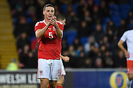 James Chester of Wales in action.Vauxhall International football friendly, Wales v The Netherlands at the Cardiff city stadium in Cardiff, South Wales on Friday 13th November 2015. pic by Andrew Orchard, Andrew Orchard sports photography.