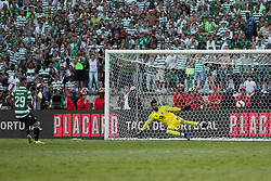 May 25, 2019 - Oeiras, Portugal - OEIRAS, PORTUGAL - MAY 25: Sporting's forward Luiz Phellype from Brazil shoots to score the last penalty and beats Porto's Brazilian goalkeeper Vana Alves during the Portugal Cup Final football match Sporting CP vs FC Porto at Jamor stadium, on May 25, 2019, in Oeiras, outskirts of Lisbon, Portugal. (Credit Image: © Pedro Fiuza/NurPhoto via ZUMA Press)