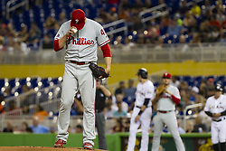 July 17, 2017 - USA - Phillies starting pitcher Jerad Eickhoff after allowing a Christian Yelich single as the Miami Marlins play the Philadelphia Phillies at Marlins Park on Monday, July 17, 2017 in Miami. (Credit Image: © Bryan Cereijo/TNS via ZUMA Wire)