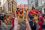 The Mayor heads off from Guildhall - The new Lord Mayor (Peter Estlin, the 691st) was sworn in yesterday. To celebrate, today is the annual Lord Mayor's Show. It includes Military bands, vintage buses, Dhol drummers, a combine harvester and a giant nodding dog in the three-mile-long procession. It brings together over 7,000 people, 200 horses and 140 motor and steam-driven vehicles in an event that dates back to the 13th century. The Lord Mayor of the City of London rides in the gold State Coach.