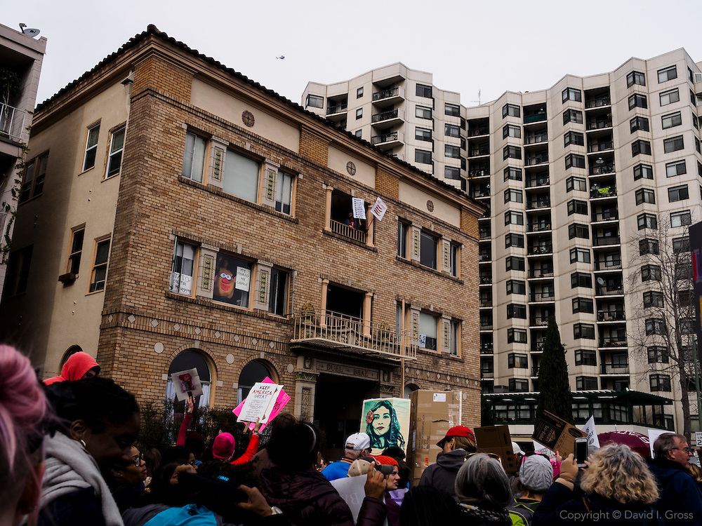 The Women's March in Oakland drew thousands of people to a peaceful march with signs, music, and singing through downtown Oakland.