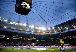 A general view of Chelsea players leaving the pitch after the pre-match warm up ahead of the UEFA Europa League Semi final, first leg match at The Frankfurt Stadion, Frankfurt.