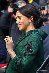 © Licensed to London News Pictures. 11/03/2019. London, UK. The Duchess of Sussex arrives with the Duke of Sussex (not pictured) at Canada House to attend a Commonwealth Day youth event. The event celebrates young Canadians living in London and around the UK Photo credit : Tom Nicholson/LNP