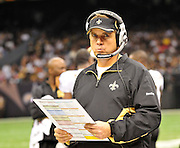 New Orleans Saints Head Coach Sean Payton looks focused at the start of the OT against the Falcons. The Super Bowl Champions New Orleans Saints play the Atlanta Falcons Sunday Sept 26, 2010 in New Orleans at the Super Dome in Louisiana.  The Saints and Falcons were tied at half time and went into overtime tied 24-24. Hartley missed a kick to win in overtime, the Falcons went on to win in OT with a field goal 27-24. PHOTO©SuziAltman.com