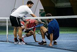 Sven Lah, Bor Muzar Schweiger and Aljaz Jakob Kaplja  playing final match during Slovenian men's doubles tennis Championship 2019, on December 29, 2019 in Medvode, Slovenia. Photo by Vid Ponikvar/ Sportida