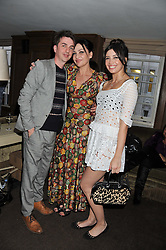 Left to right, DANNY GOFFEY, PEARL LOWE and DAISY LOWE at a party to celebrate the publication of Vintage Craft - 50 Craft Projects and Home Styling Advice by Pearl Lowe held at Soho House, Old Compton Street, London on 8th May 2013.