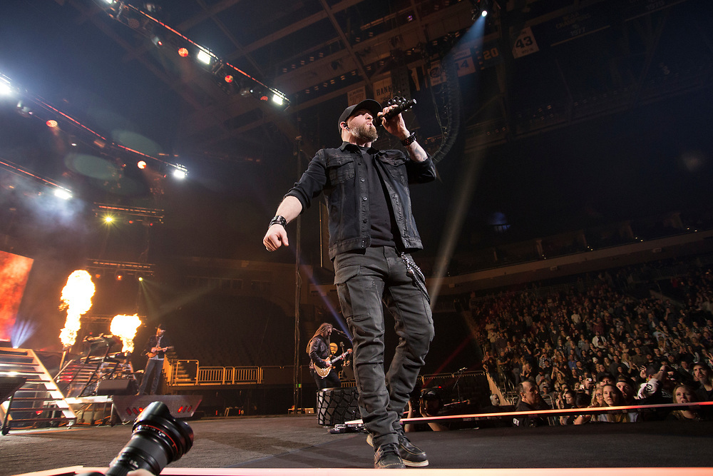 Brantley Gilbert performs at the Fiserv Forum in Milwaukee, WI on February 8, 2020.