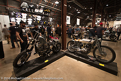 1935 Harley-Davidson VL Racer (right) built by Terry Heyot on Saturday in the Handbuilt Motorcycle Show. Austin, TX, USA. April 9, 2016.  Photography ©2016 Michael Lichter.