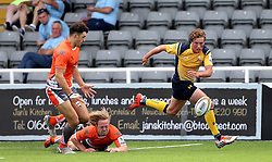 Tiff Eden of Worcester Warriors chases the ball - Mandatory by-line: Robbie Stephenson/JMP - 30/07/2016 - RUGBY - Kingston Park - Newcastle, England - Worcester Warriors v Newcastle Falcons - Singha Premiership 7s