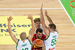 Nikola Pekovic of Montenegro between Edo Muric of Slovenia, Miha Zupan of Slovenia and Uros Slokar of Slovenia during friendly basketball match between National teams of Slovenia and Montenegro of Adecco Ex-Yu Cup 2011 as part of exhibition games before European Championship Lithuania 2011, on August 7, 2011, in Arena Stozice, Ljubljana, Slovenia. Slovenia defeated Crna Gora 86-79. (Photo by Vid Ponikvar / Sportida)
