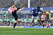 Romelu Lukaku of Everton just misses with a diving header on goal. Barclays Premier League match, Everton v Sunderland at Goodison Park in Liverpool on Sunday 1st November 2015.<br /> pic by Chris Stading, Andrew Orchard sports photography.