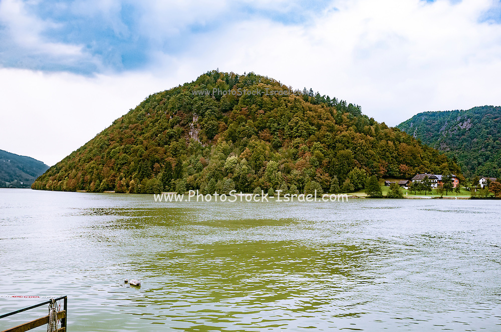 The Danube river at the Schlogener Schlinge (Schlogener Sling) Austria At this point the river curves around and back again to continue in its course