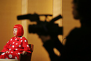 Japanese artist Yoyoi Kusama during a press conference for the 2006 Praemium Imperiale art awards, in the Hotel Okura, Tokyo, Japan, on Tuesday, Oct. 17,  2006. The five laureates in 2006 were internationally renowned  Japanese artist Kusama Yayoi, French sculptor Christian Boltanski, German architect Frei Otto, American musician Steve Reich, and Russian dancer ballerina Maya Plisetskaya. All receive an honorarium of 15 million Yen, and a medal. The Japan Art Association, giver of the awards, is the oldest cultural foundation in Japan, established in 1887. The laureates are chosen each year by an international jury, from a list of nominees put forward by advisors. The awards are held annually in Tokyo in the presence of Prince and Princess Hitachi.