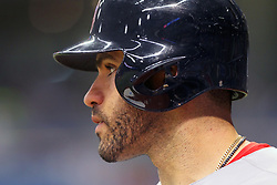 May 22, 2018 - St. Petersburg, FL, U.S. - ST. PETERSBURG, FL - MAY 22: J. D. Martinez (28) of the Red Sox watches the action on the field during the MLB regular season game between the Boston Red Sox and the Tampa Bay Rays on May 22, 2018, at Tropicana Field in St. Petersburg, FL. (Photo by Cliff Welch/Icon Sportswire) (Credit Image: © Cliff Welch/Icon SMI via ZUMA Press)
