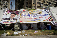 Supporters of president Morsi camp overnight during demonstrations in Cairo, one year after the leader of the Muslim Brotherhood came to power, in Cairo, Egypt