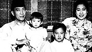 Ahmed Sukarno (1901-1970), Principal leader  of Indonesia's nationalist movement against the Dutch, and the country's first president (1945-1968), with his wife and children.  Politician Statesman