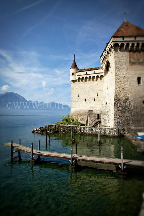 Scenic view of the Chateau de Chillon and Lake Geneva in Montreux, Switzerland