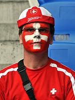GEPA-1106085611 - BASEL,SCHWEIZ,11.JUN.08 - FUSSBALL - UEFA Europameisterschaft, EURO 2008, Schweiz vs Tuerkei, SUI vs TUR, Vorberichte. Bild zeigt einen Fan der Schweiz.<br />Foto: GEPA pictures/ Oliver Lerch