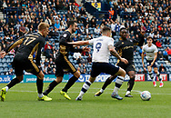 Jordan Hugill of Preston North End is crowded out by Millwall defenders during the EFL Sky Bet Championship match between Preston North End and Millwall at Deepdale, Preston, England on 23 September 2017. Photo by Paul Thompson.