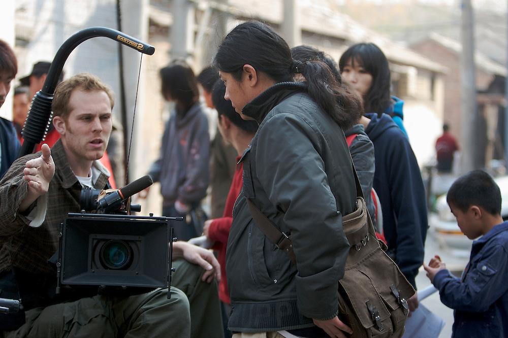 A film shoot in Xinjiekou area of Beijing, China.