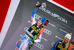 2nd placed VLHOVA Petra of Slovakia celebrates at Trophy ceremony after the 2nd Run during the Ladies' GiantSlalom at 56th Golden Fox event at Audi FIS Ski World Cup 2019/20, on February 15, 2020 in Podkoren, Kranjska Gora, Slovenia. Photo by Matic Ritonja / Sportida