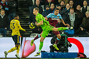 Bernd Leno (GK) (Arsenal) saves the ball across from Pablo Fornals (West Ham) during the Premier League match between West Ham United and Arsenal at the London Stadium, London, England on 9 December 2019.