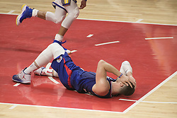 January 6, 2018 - Los Angeles, California, U.S - Blake Griffin #32 of the Los Angeles Clippers is elbowed in the head and goes down during their NBA game with the Golden State Warriors on Saturday January 6, 2018 at the Staples Center in Los Angeles, California. Clippers vs Warriors. (Credit Image: © Prensa Internacional via ZUMA Wire)