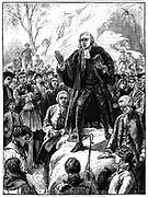 John Wesley (1703-1791) English non-conformist preacher. Founder of  Methodism. Wesley preaching in the open air Cornwall, England. Woodcut 1888.