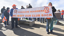 Fans celebrating Oyston's departure with a Yorkshire Seasiders banner