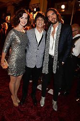 Left to right, SALLY HUMPHREYS, RONNIE WOOD and RUSSELL BRAND at the GQ Men of The Year Awards 2013 in association with Hugo Boss held at the Royal Opera House, London on 3rd September 2013.