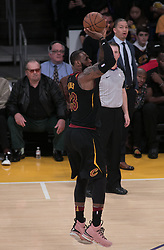 March 11, 2018 - Los Angeles, California, U.S - LeBron James #23 of the Cleveland Cavaliers takes a jump shot during their NBA game with the Los Angeles Lakers on Sunday March 11, 2018 at the Staples Center in Los Angeles, California. Lakers defeat Cavaliers, 127-113. (Credit Image: © Prensa Internacional via ZUMA Wire)