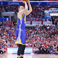 21 April 2014: Golden State Warriors guard Stephen Curry (30) takes a jump shot during the Los Angeles Clippers 138-98 victory over the Golden State Warriors, during Game Two of the Western Conference Quarterfinals of the NBA Playoffs, at the Staples Center, Los Angeles, California, USA.